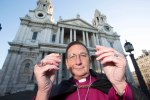 Bishop Michael Doe outside St Paul's Cathedral says I DO to Fairtrade Gold