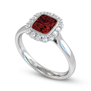 Ethical Nyala Ruby and Diamond Engagement Ring.