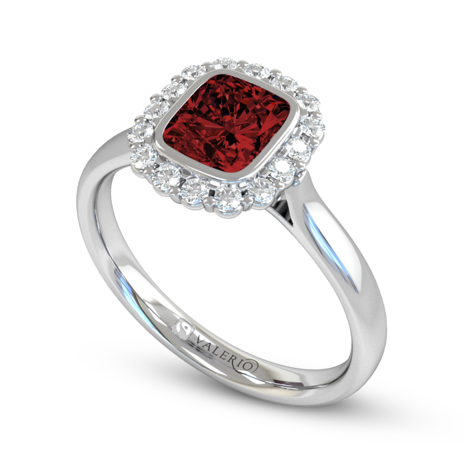Ethical Ruby and Diamond Engagement Ring.